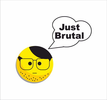 unshaven: Brutal yellow smile icon Illustration