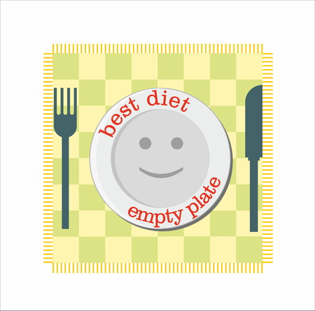 plate: Diet with empty plate smile