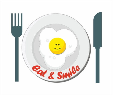 fried egg: Eat and smile - breakfast with fried egg on the plate