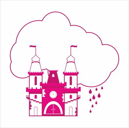 rain window: Fairytale pink castle with cloud