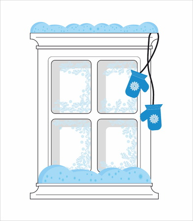 mittens: Frozen window and mittens Illustration