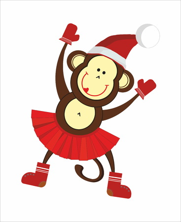 merry mood: Dancing monkey in a Santa hat, felt boots, mittens Illustration