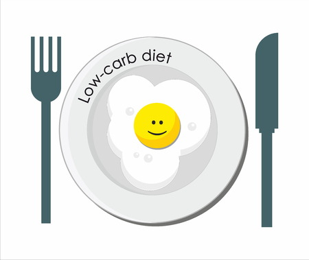 carb: Low-carb diet with smiling fried egg