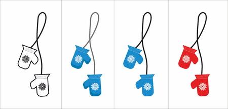mittens: set of winter mittens Illustration