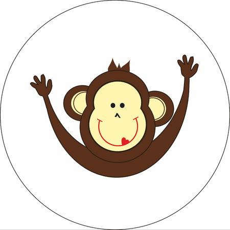 jungle jumping: Smiling monkey Illustration