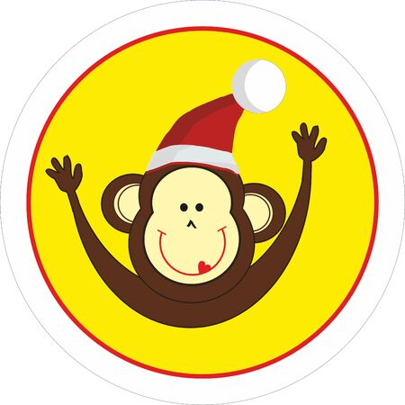 merry mood: Monkey in Santa Claus cap