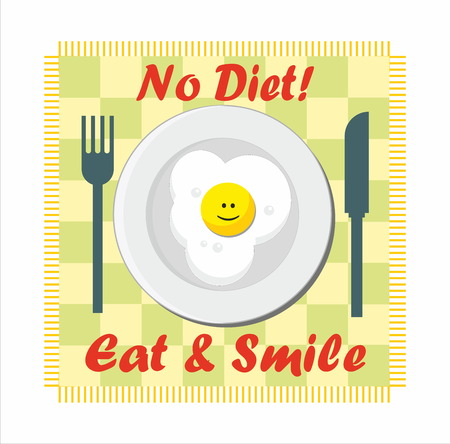 overeat: No diet - eat & smile - fried egg on the plate Illustration