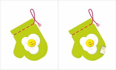 applique: potholder with applique fried eggs Illustration