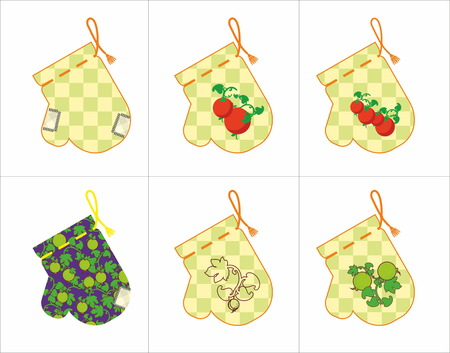 applique: kitchen potholder set with applique Illustration
