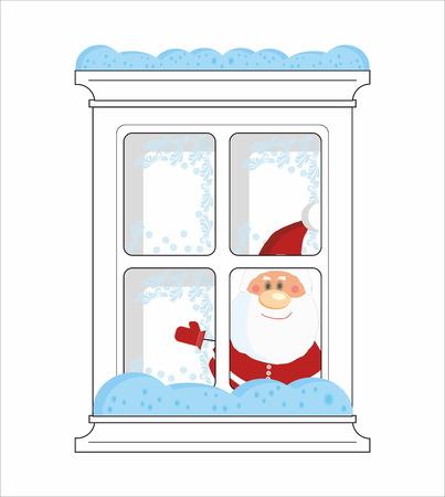 Santa Claus in winter frozen window