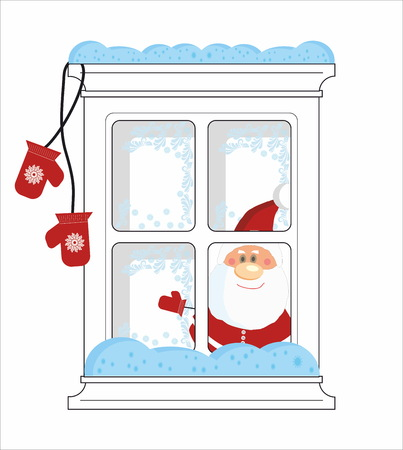 froze: Santa looks from frozen window with mittens