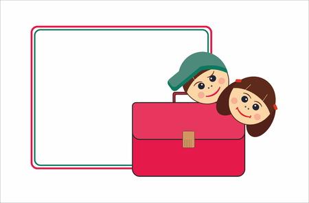 recess: Children and school satchel Illustration