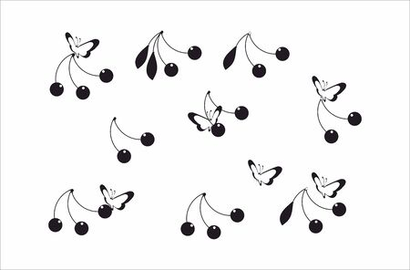 buterfly: Cherry and buterfly pattern Illustration