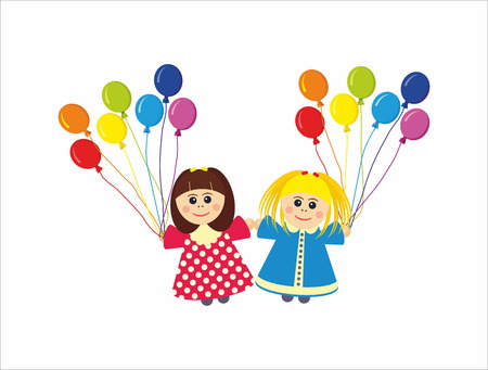 rainbow colors: Children with rainbow colors balloons Illustration