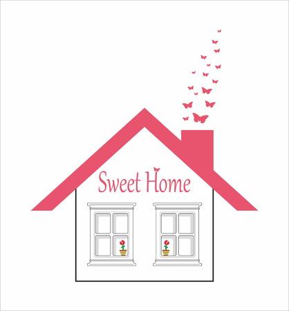 Carino casa - dolce casa - vettore logo