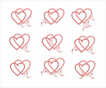 tender: Decorative tender pink hearts set