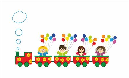 Children in train with baloons Illustration