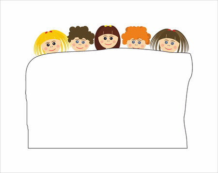 paper sheet: Children with paper sheet Illustration