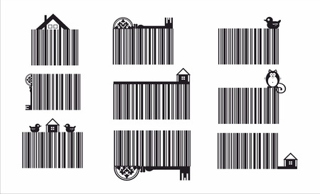 Decorative barcode set with eco elements