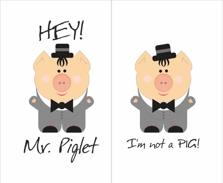 Mr. Piglet- funny cuite pig gentlman