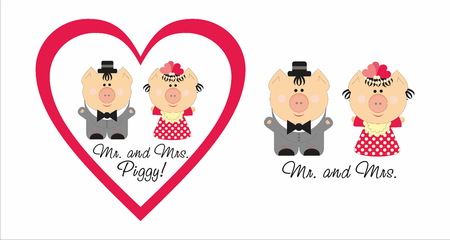 Mr. and Mrs. Piggy Illustration