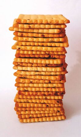 stack crackers on white background