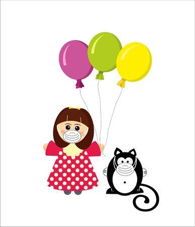 Girl and ger cat in medcine masks, coronavirus Illusztráció