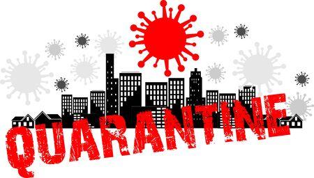 Coronavirus in city, on planet, coronavirus illustration, icon and inscription