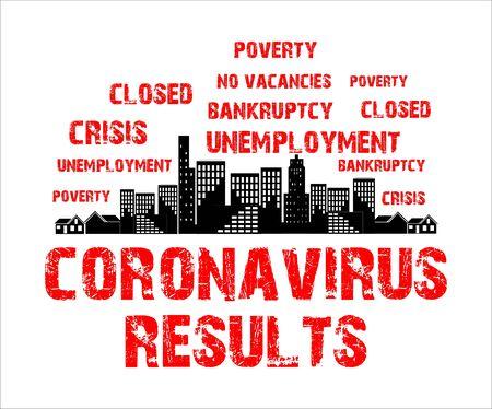 coronavirus consequences - crisis and unemployment, concept, symbol 向量圖像