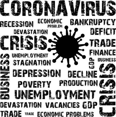 Coronavirus results, economic problem, stamp, word, inscription, symbol