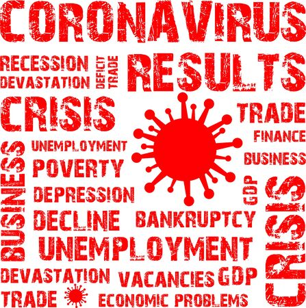 Coronavirus results, economic problem, stamp, word, inscription, symbol