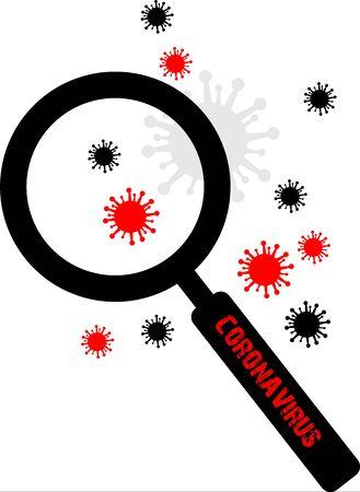 magnifier and coronavirus symbol