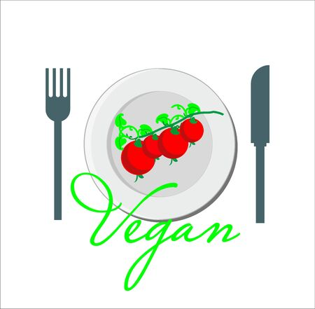 Vegan and vegetarian illustration - cherry tomato on a plate Illustration