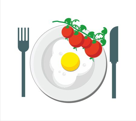 Breakfast - fried egg and tomato