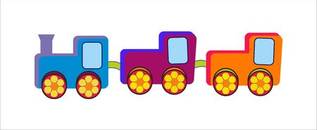 Colorful children train with 3 wagoons Çizim