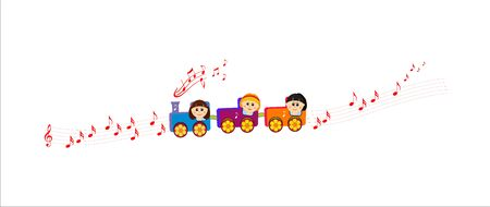 Children in a music train, musical road
