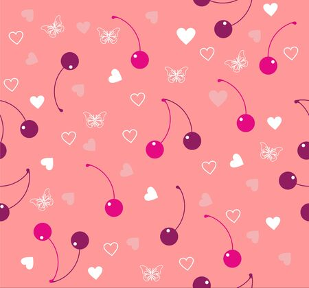 Seamless pink background wih cherry, heart, butterfly