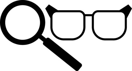 glasses and magnifier black icon