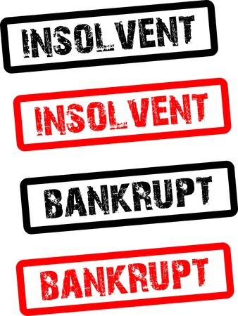 Insolvent and bankrupt stamp, black and red icon, inscription