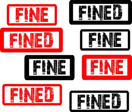 Fined stamp inscription symbol, black and red icon