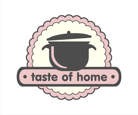 Taste of home, home cuisine logo, pan icon
