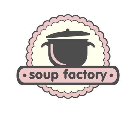 Soup factory, home cuisine logo, pan icon
