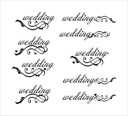 wedding inscription with decorative curl elements, wedding symbol