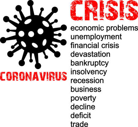 Coronavirus and crisis results, economic problem, stamp, word, inscription, symbol Illusztráció