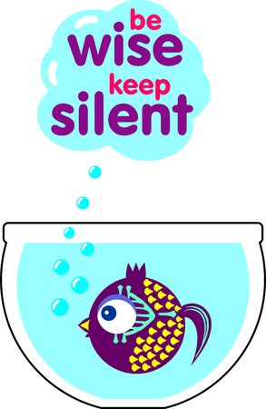Decorative violet fish in aquarium with inscription keep silence