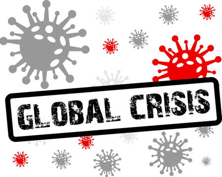 Global crisis stamp inscription, red and black icon