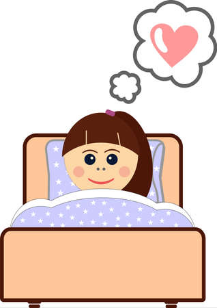 Little girl sleepeng in her bed, dream about love before sleep