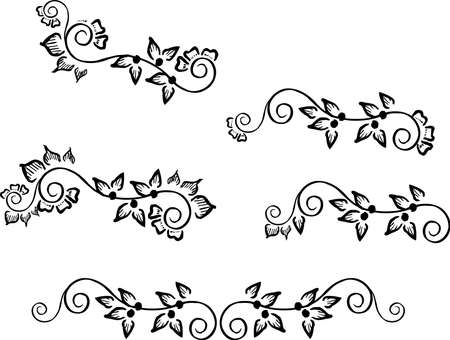 Decorative graphic scroll element with flowers for design