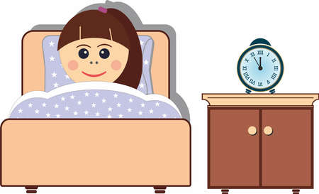 Little girl sleepeng in her bed, time to sleep Vector Illustration