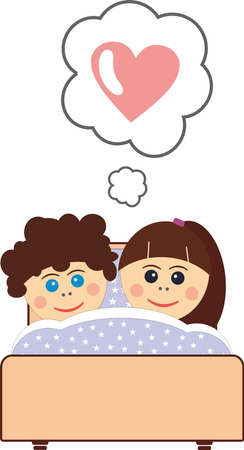 boy and girl sleeping in bed, love and relationship concept 向量圖像